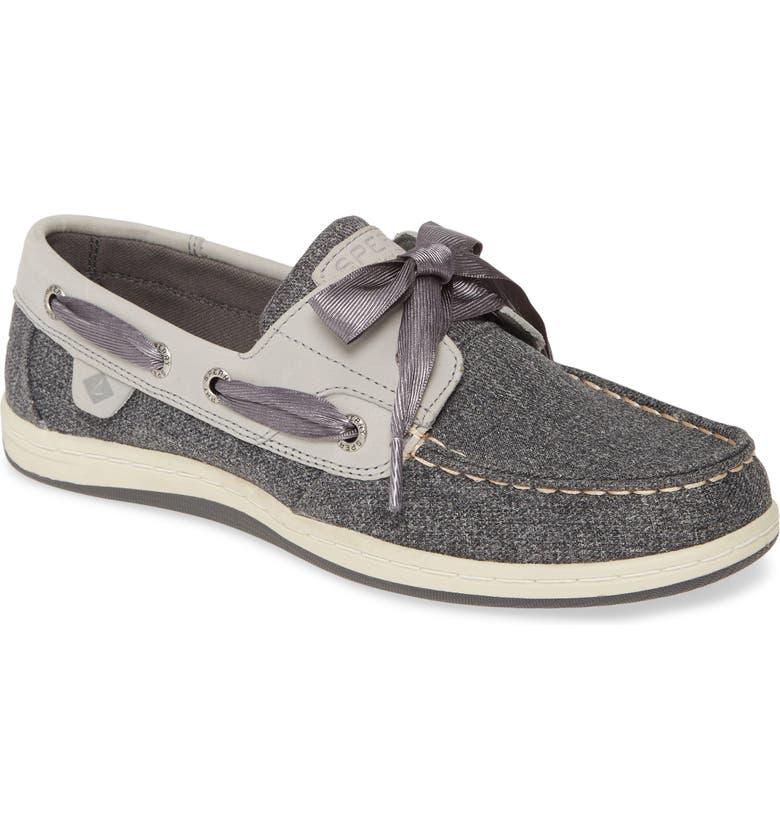 SPERRY Koifish Canvas Boat Shoe, Main, color, GREY SPARKLE CANVAS