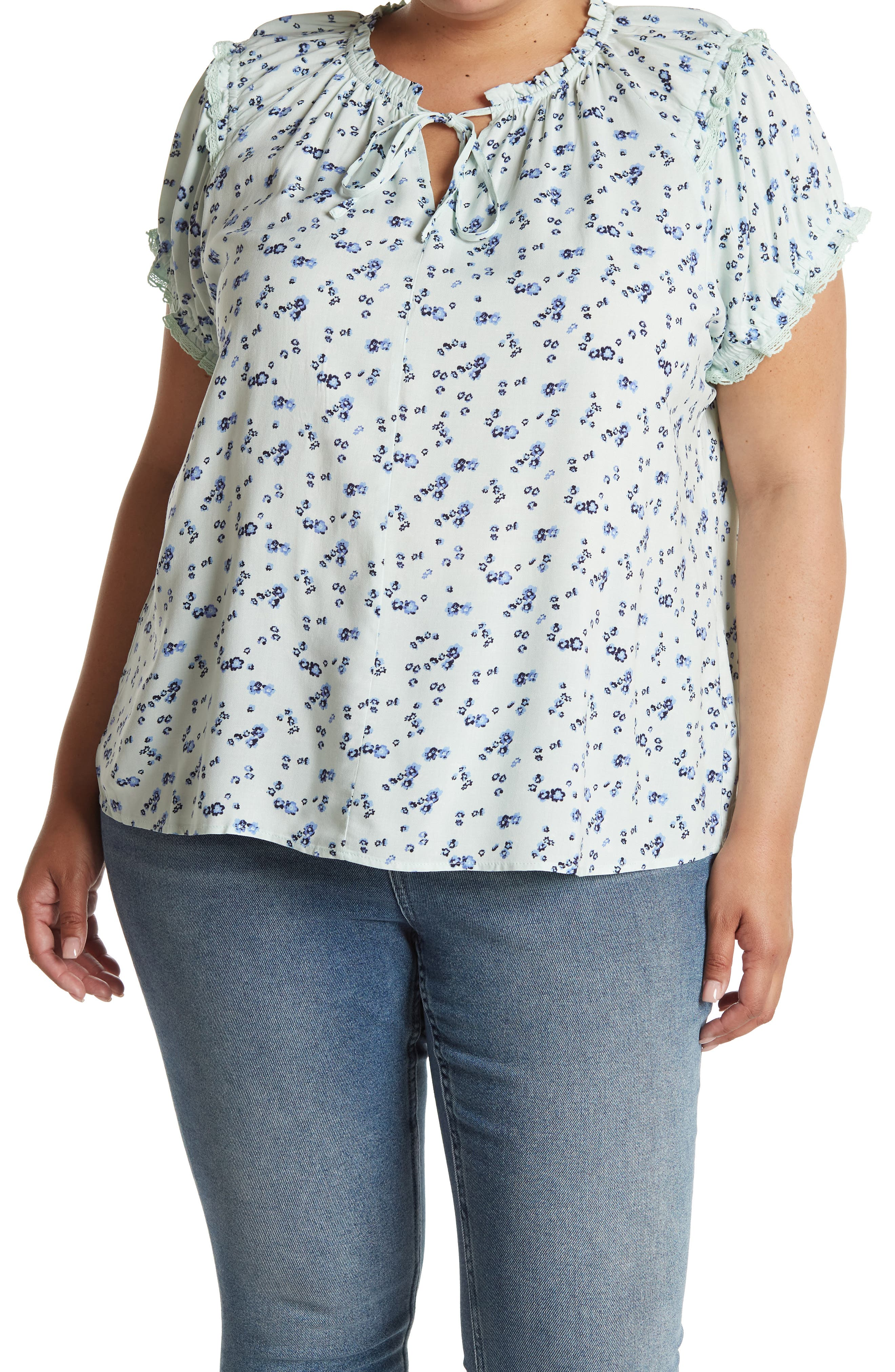 Cottagecore Clothing, Soft Aesthetic Como Vintage Ruffle Sleeve Printed Tie Neck Top Size 3X - Dark Green1 at Nordstrom Rack $19.97 AT vintagedancer.com