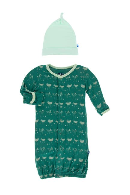 Image of KicKee Pants Print Layette Gown Converter & Knot Hat Set in Ivy Chickens