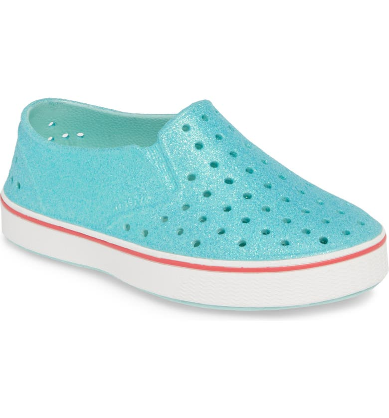 NATIVE SHOES Miles Bling Water Friendly Slip-On Vegan Sneaker, Main, color, HYDRANGEA BLING/ SHELL WHITE