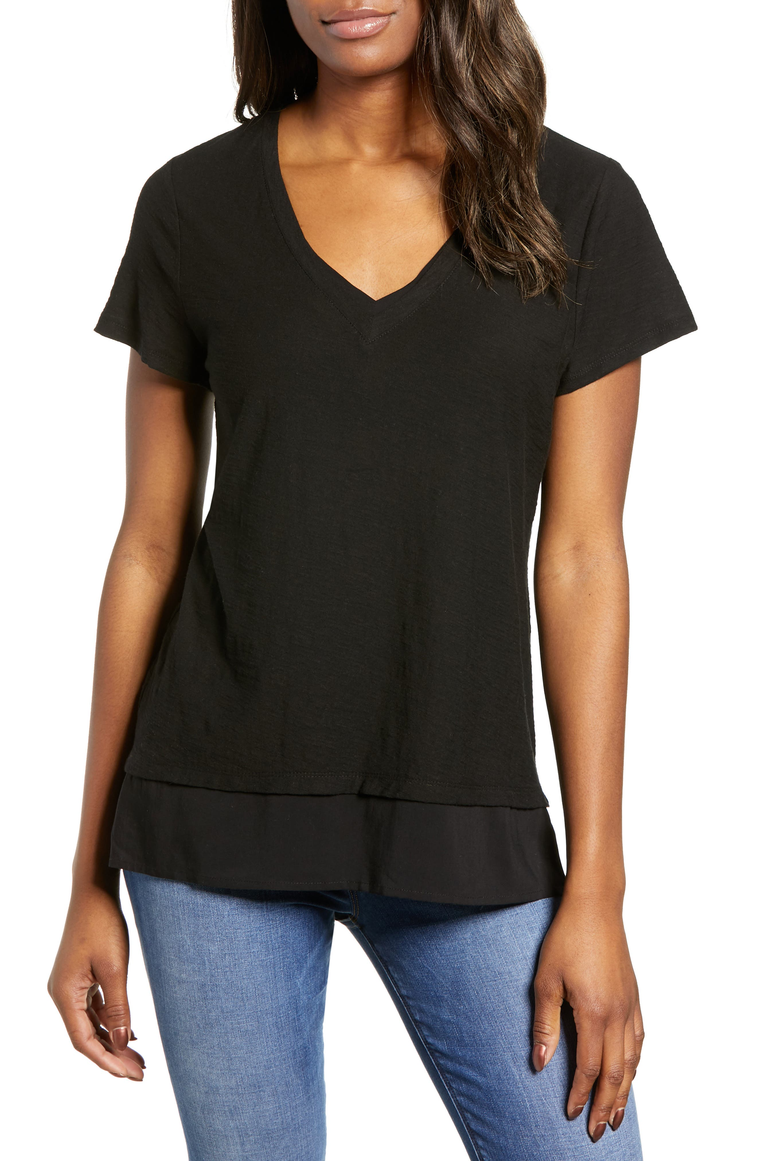 d59430357 Petite Vince Camuto Layered Look V-Neck Tee, Black