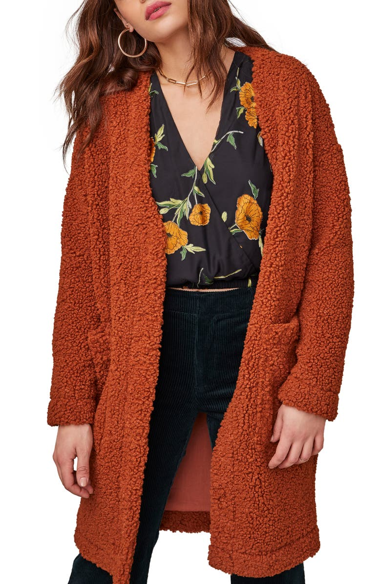 ASTR THE LABEL Fauna Faux Fur Coat, Main, color, RUST