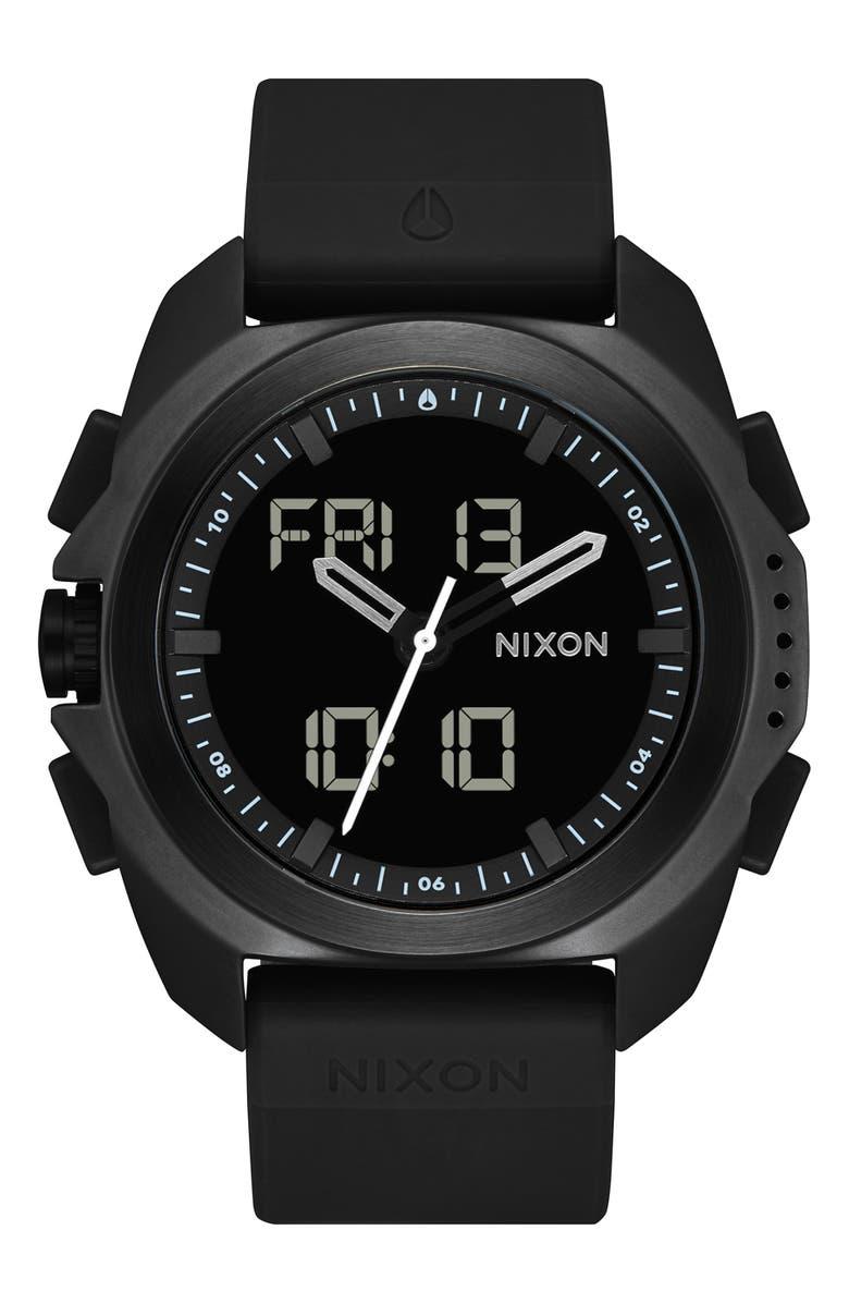 NIXON Ripley Ana-Digi Silicone Strap Watch, 47mm, Main, color, BLACK