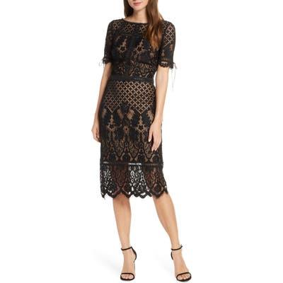 Tadashi Shoji Tie Sleeve Lace Sheath Dress, Black