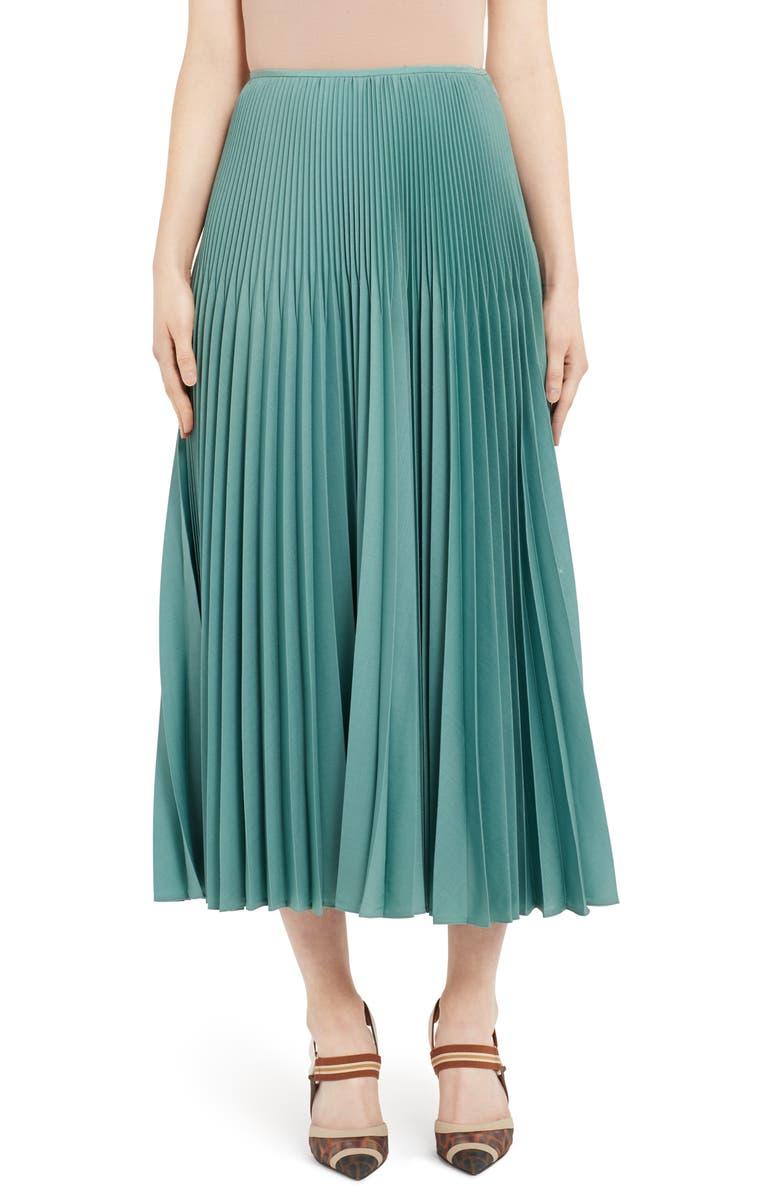 FENDI Drop Waist Pleated Mohair & Wool Midi Skirt, Main, color, BLUE