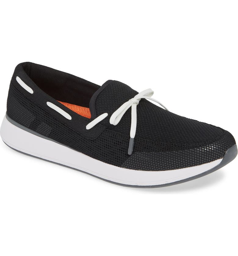 SWIMS Breeze Wave Boat Shoe, Main, color, BLACK/ GRAY FABRIC