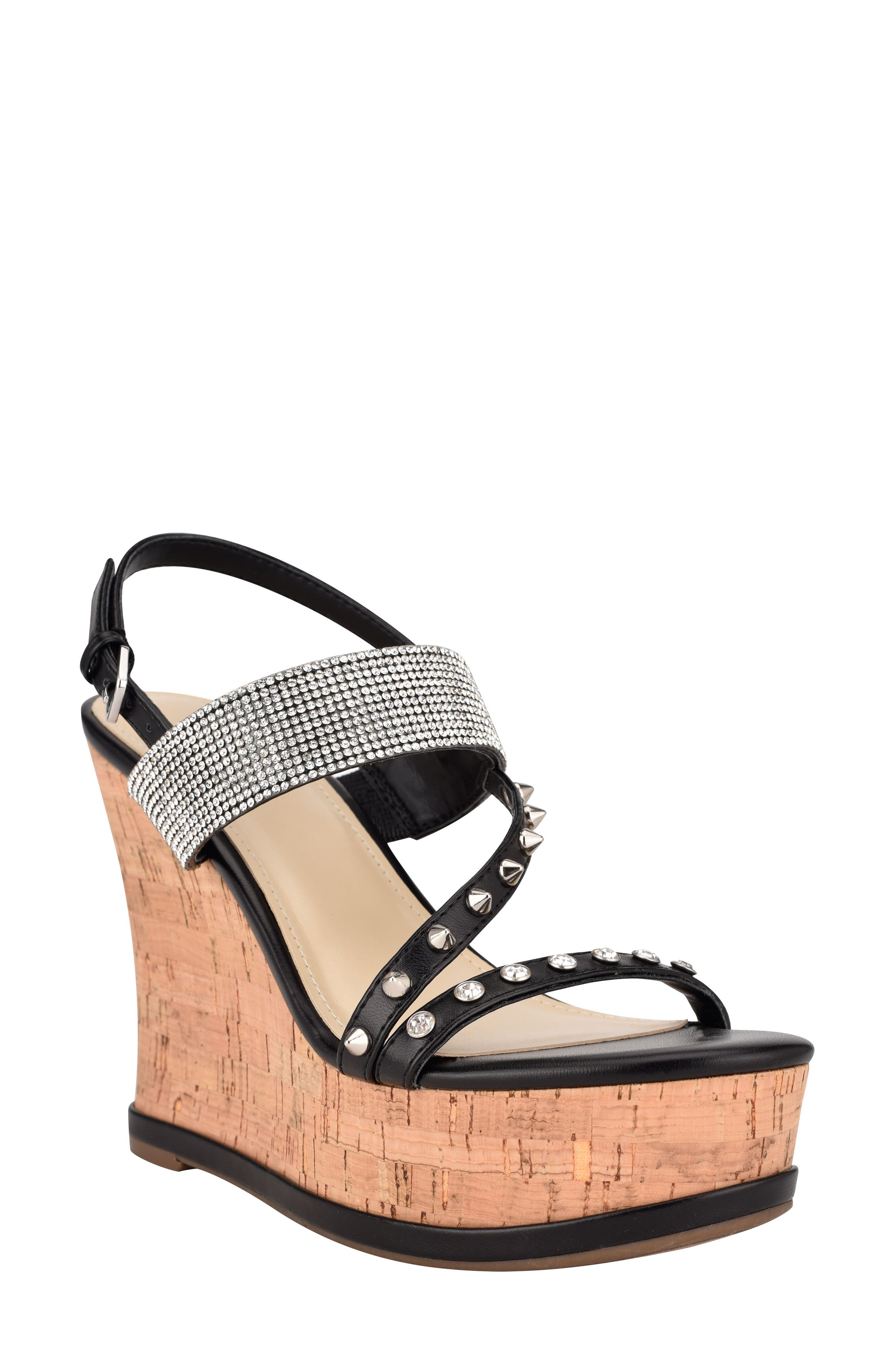 Dariani Rhinestone Cork Wedge Sandal
