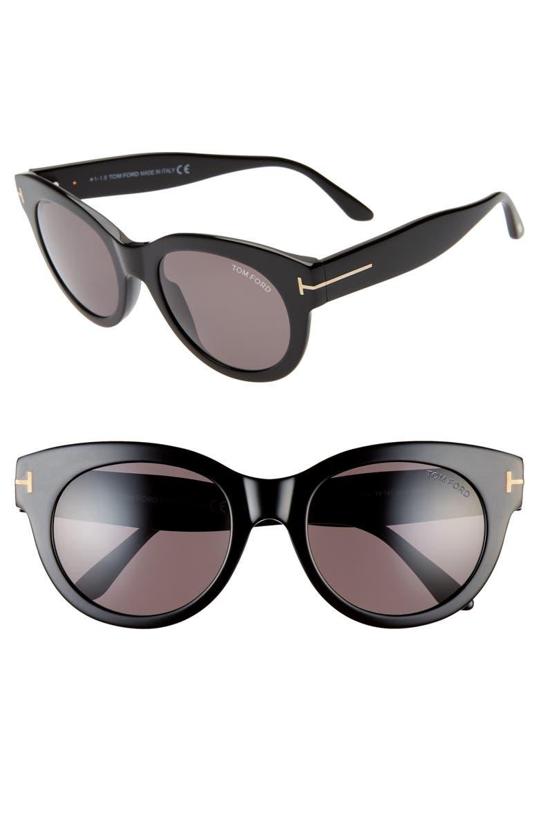 TOM FORD Lou 53mm Cat Eye Sunglasses, Main, color, SHINY BLACK/ SMOKE