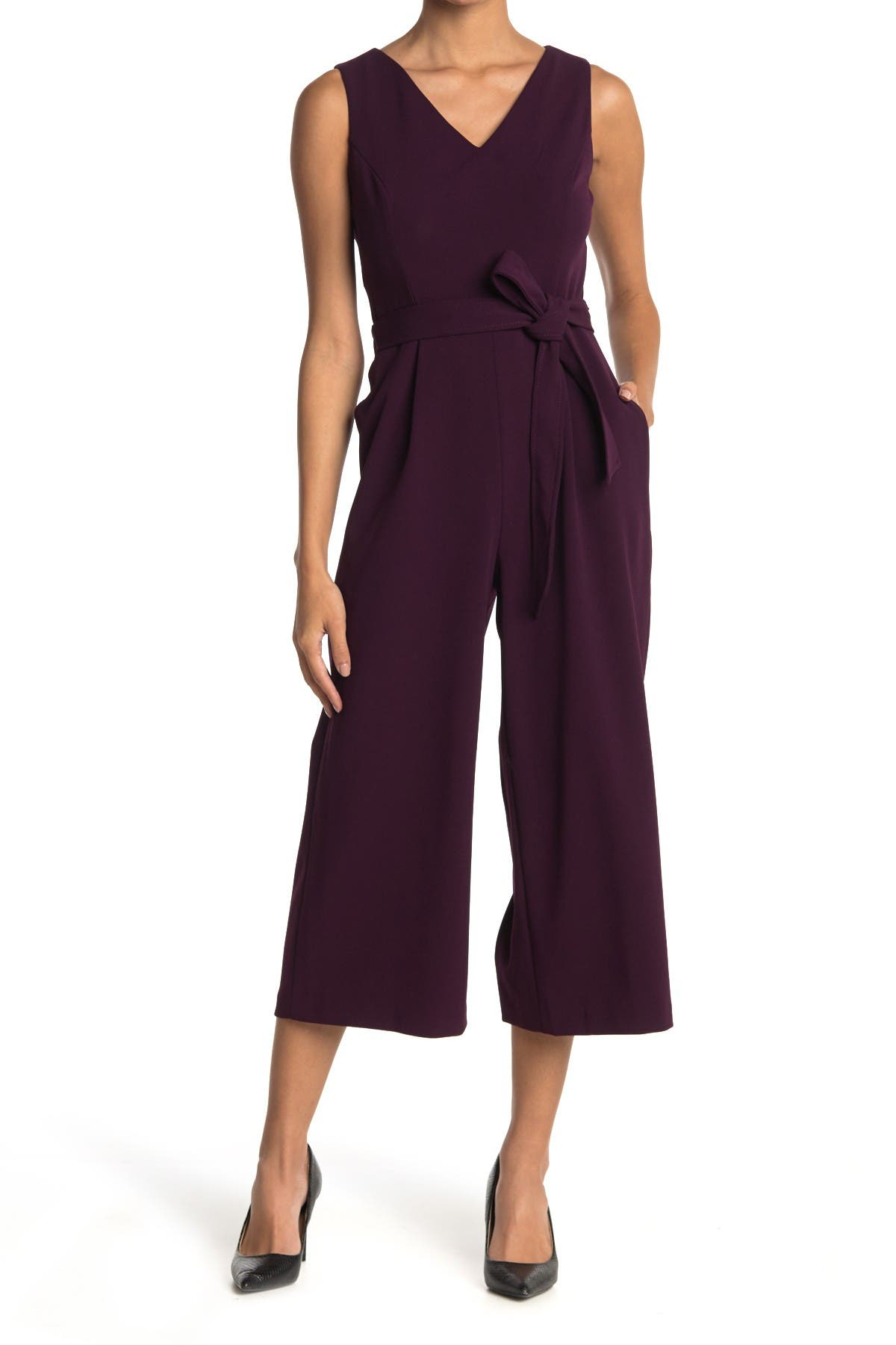 Image of Calvin Klein V-Neck Sleeveless Cropped Jumpsuit