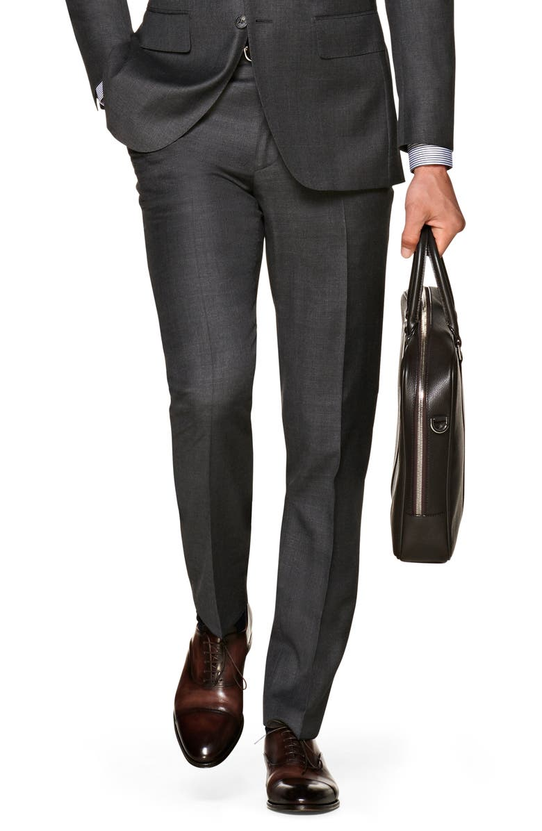 SUITSUPPLY Brescia Flat Front Solid Wool Dress Pants, Main, color, DARK GREY