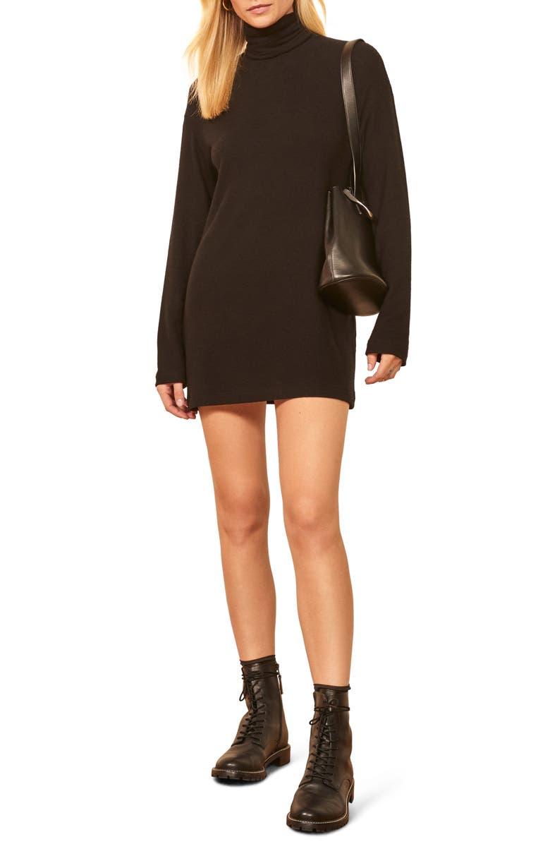 REFORMATION Daze Long Sleeve Turtleneck Sweater Dress, Main, color, 001