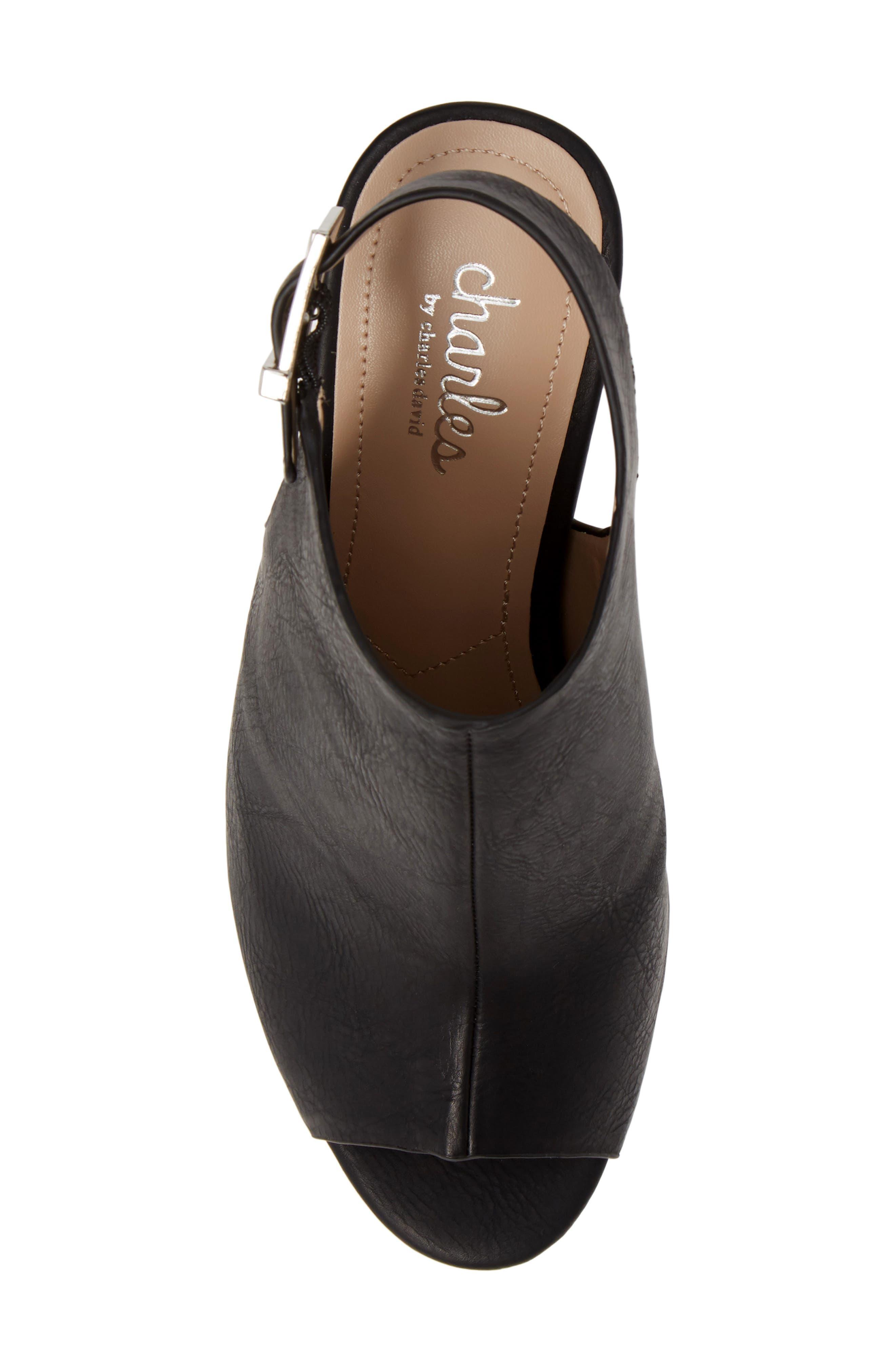 ,                             Lobby Slingback Wedge Sandal,                             Alternate thumbnail 5, color,                             BLACK FAUX LEATHER
