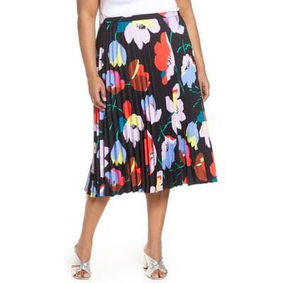 Plus Size Halogen Pleated Midi Skirt, Black