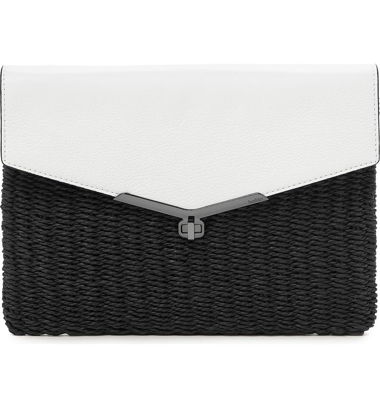 BOTKIER Valentina Straw & Leather Envelope Clutch, Main, color, 001