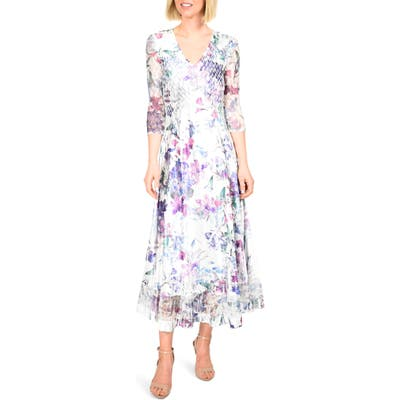 Petite Komarov Floral Charmeuse & Chiffon Dress, White