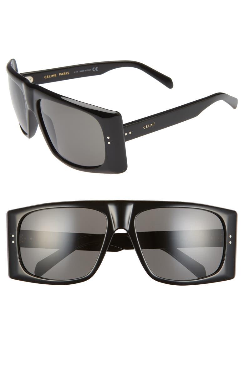 CELINE 63mm Oversize Flat Top Sunglasses, Main, color, SHINY BLACK/ SMOKE