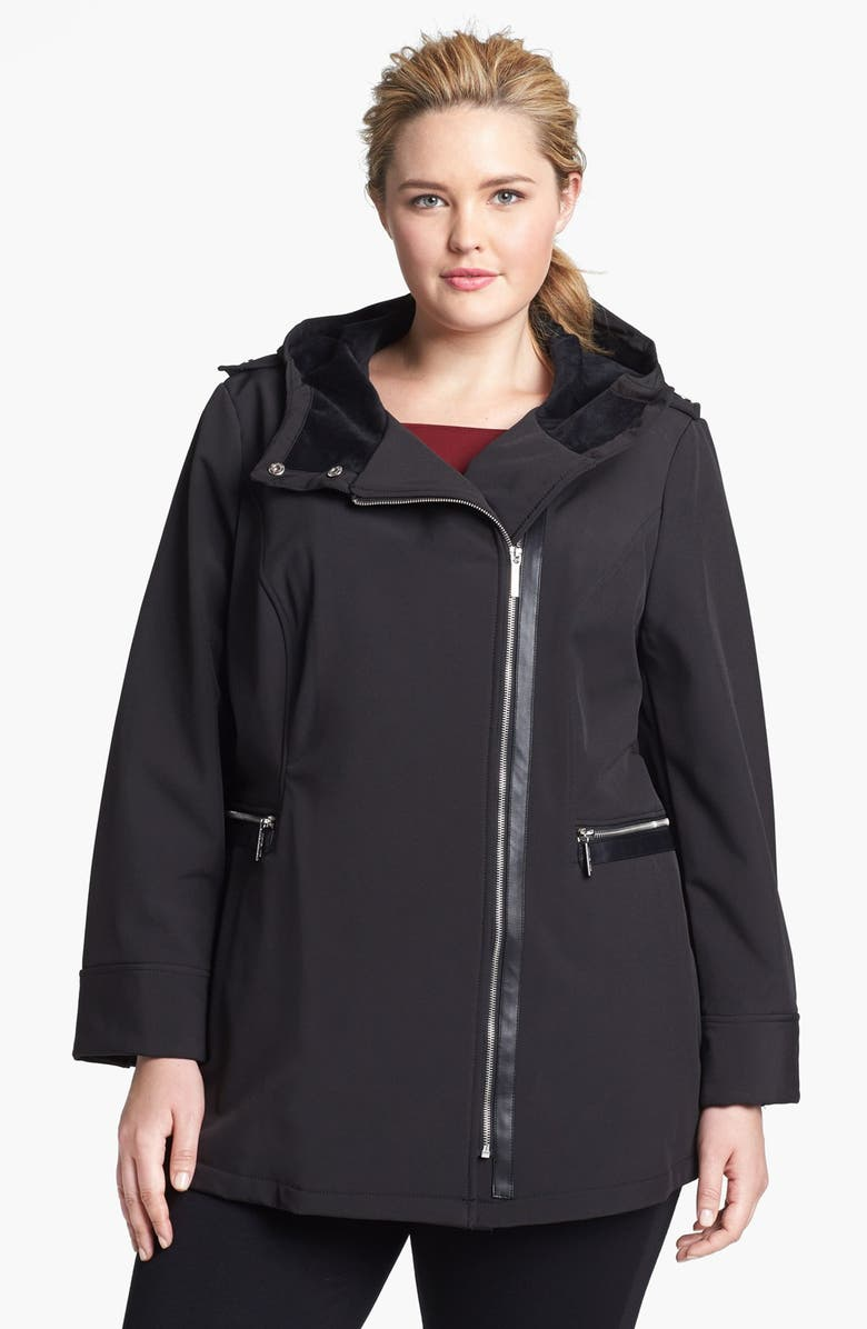 MICHAEL MICHAEL KORS Hooded Faux Leather Trim Soft Shell Jacket, Main, color, 001