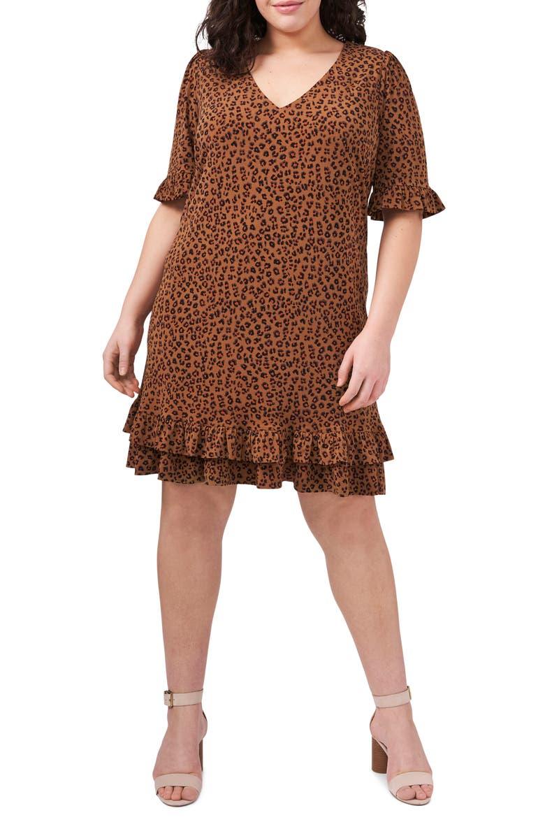 CECE Leopard Print Ruffle Stretch Knit Dress, Main, color, SPICEWOOD
