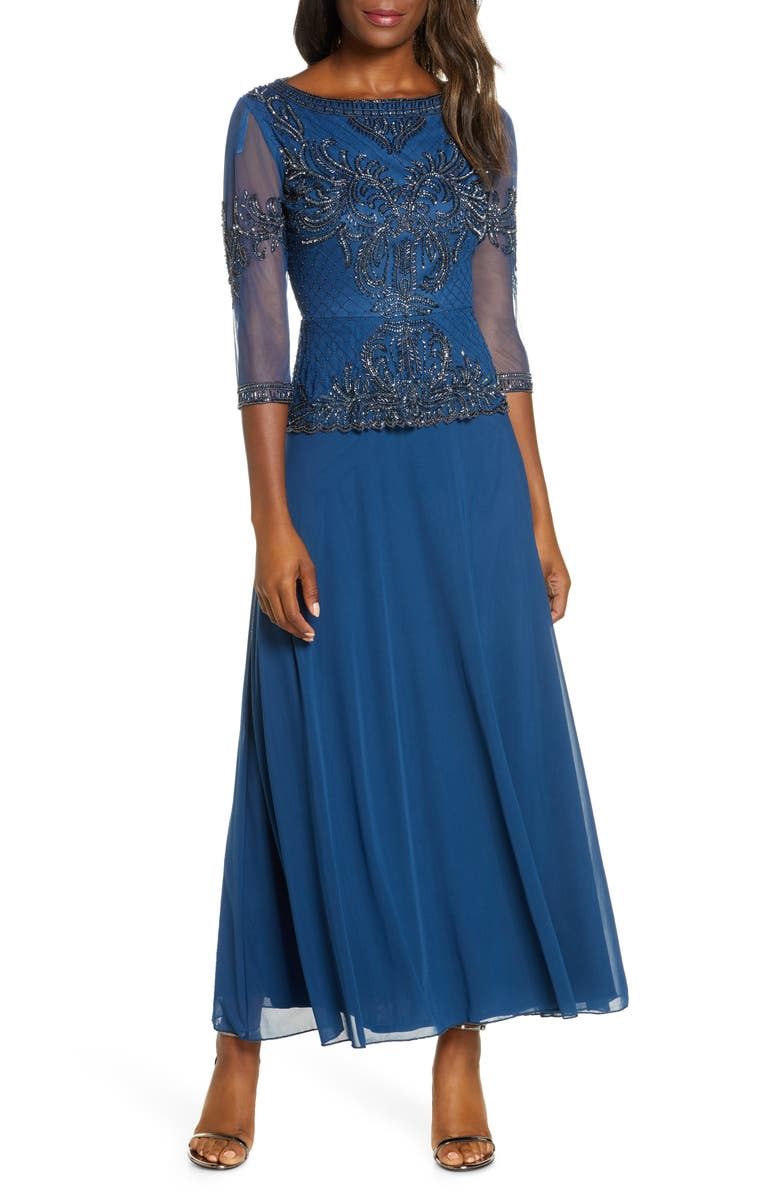 PISARRO NIGHTS Bead Embellished Gown, Main, color, PETROL BLUE/GUN
