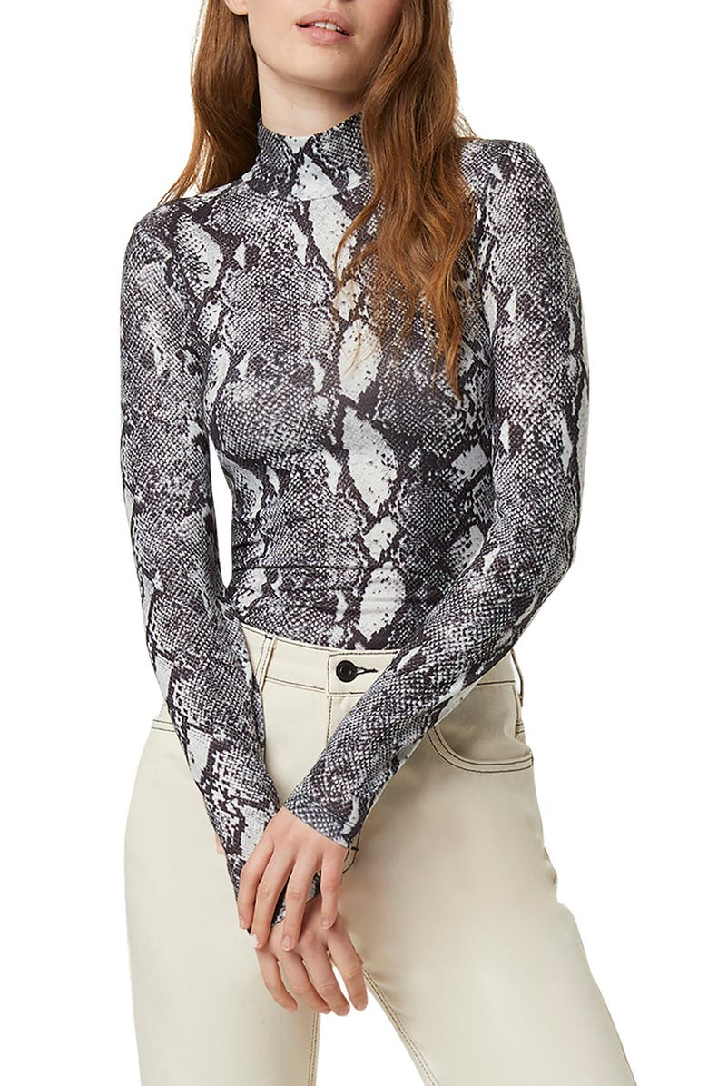 FRENCH CONNECTION Animal Print Mock Neck Top, Main, color, DARK GREY SNAKE