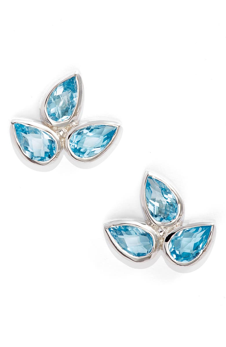ANZIE Micro Bouquet White Topaz Post Earrings, Main, color, BLUE TOPAZ