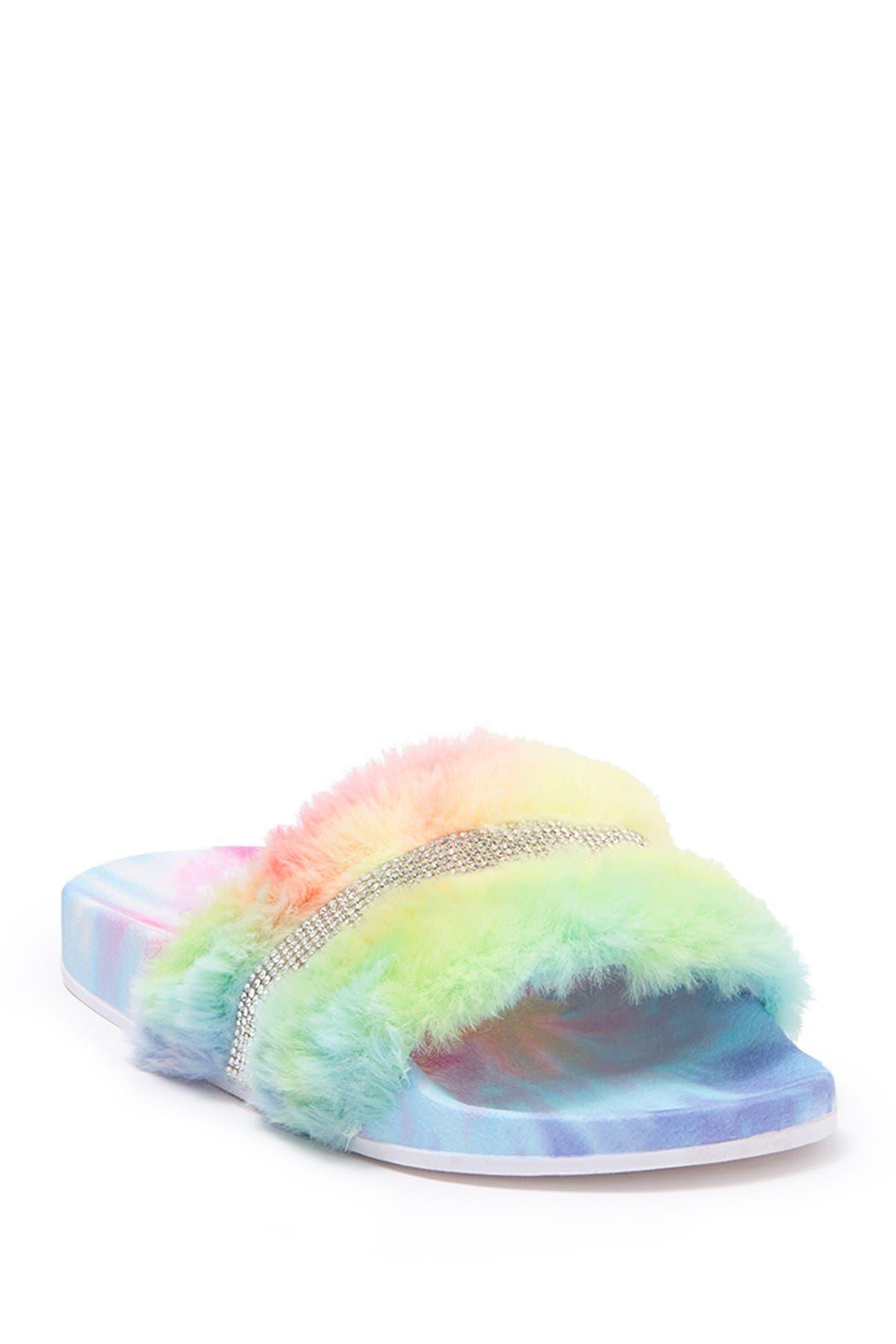 Image of Top Moda Rhinestone Faux Fur Slide