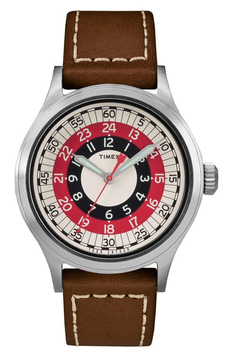 TIMEX<SUP>®</SUP> X TODD SNYDER The Mod Leather Strap Watch, 40mm, Main, color, 200