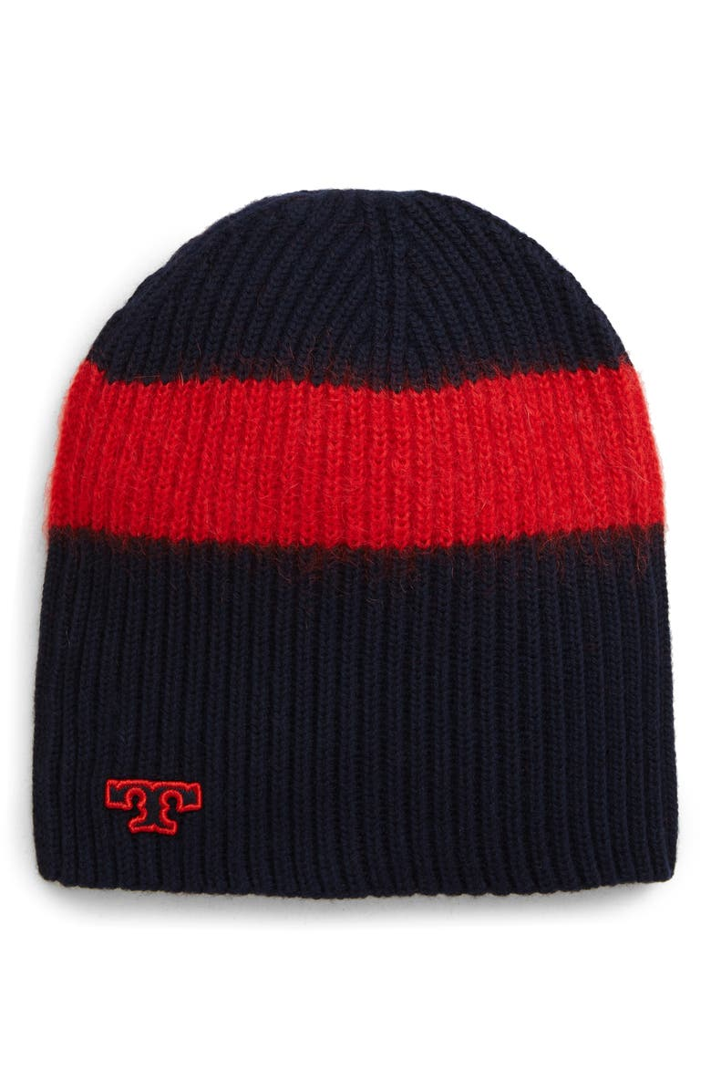 TORY BURCH Stripe Wool Blend Beanie, Main, color, TORY NAVY/ RED