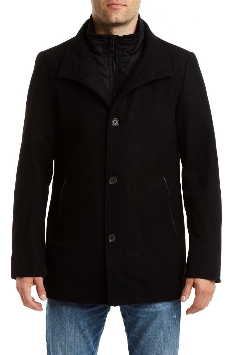 VINCE CAMUTO Short Wool Blend Car Coat, Main, color, BLACK