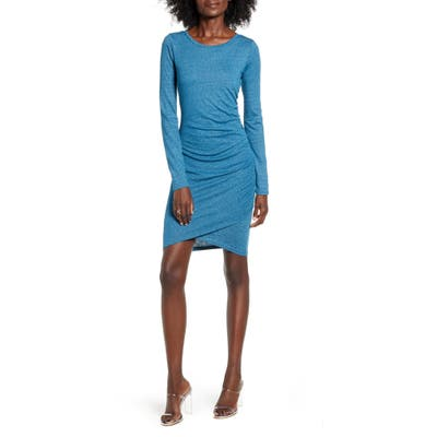 Leith Ruched Long Sleeve Dress, Blue/green