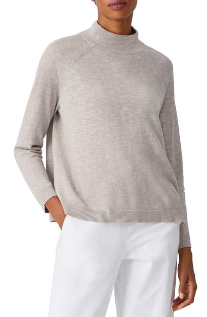 Eileen Fisher FUNNEL NECK LINEN & COTTON SWEATER