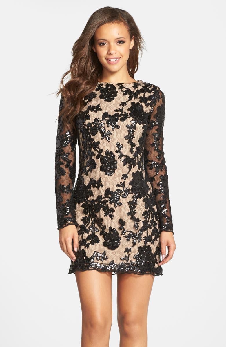 DRESS THE POPULATION Grace A-Line Dress, Main, color, 001