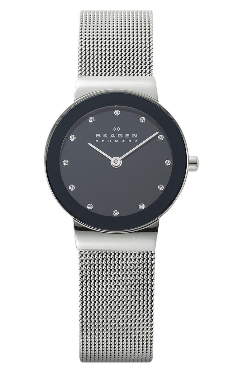 SKAGEN 'Freja' Mirror Bezel Mesh Strap Watch, 26mm, Main, color, 040