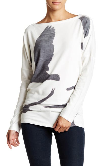 Image of Go Couture Printed Dolman Tunic Sweater