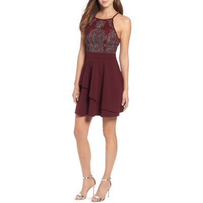 Speechless Beaded Skater Dress, Burgundy