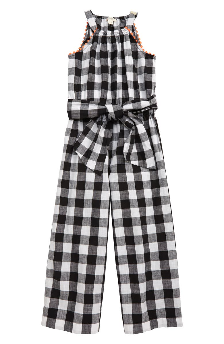 CREWCUTS BY J.CREW Buffalo Check Bow Tie Jumpsuit, Main, color, 001