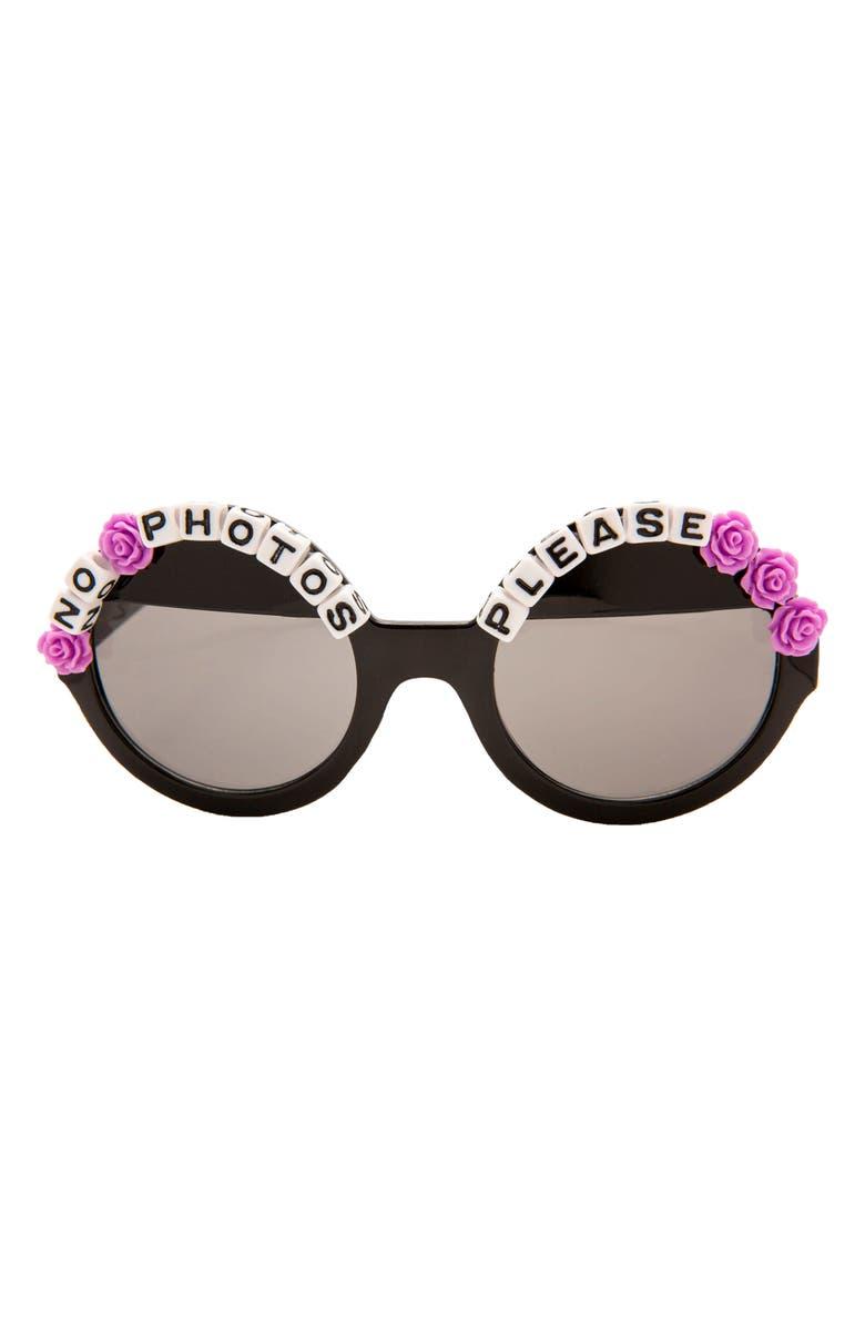 RAD + REFINED No Photos Please Round Sunglasses, Main, color, BLACK/ PURPLE
