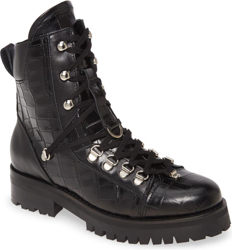 ALLSAINTS Franka Lace-Up Hiker Boot, Main, color, BLACK CROC LEATHER