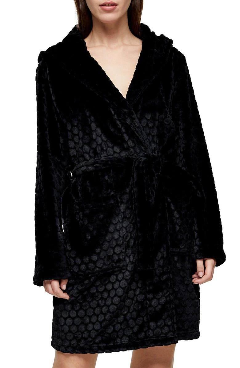 TOPSHOP Spot Textured Robe, Main, color, BLACK