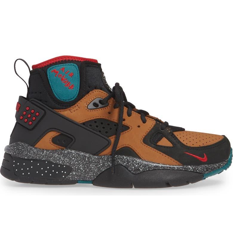 NIKE x Olivia Kim Air Mowabb High Top Sneaker, Main, color, BLACK/ GYM RED/ TAN
