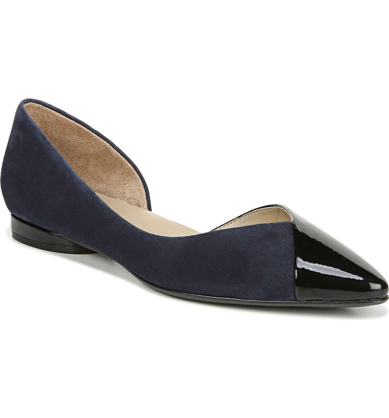 NATURALIZER Hayden Half d'Orsay Flat, Main, color, NAVY SUEDE AND PATENT LEATHER