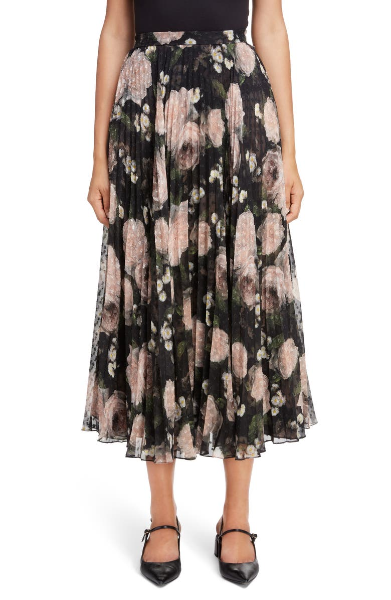 ERDEM Floral Print Voile Midi Skirt, Main, color, 001