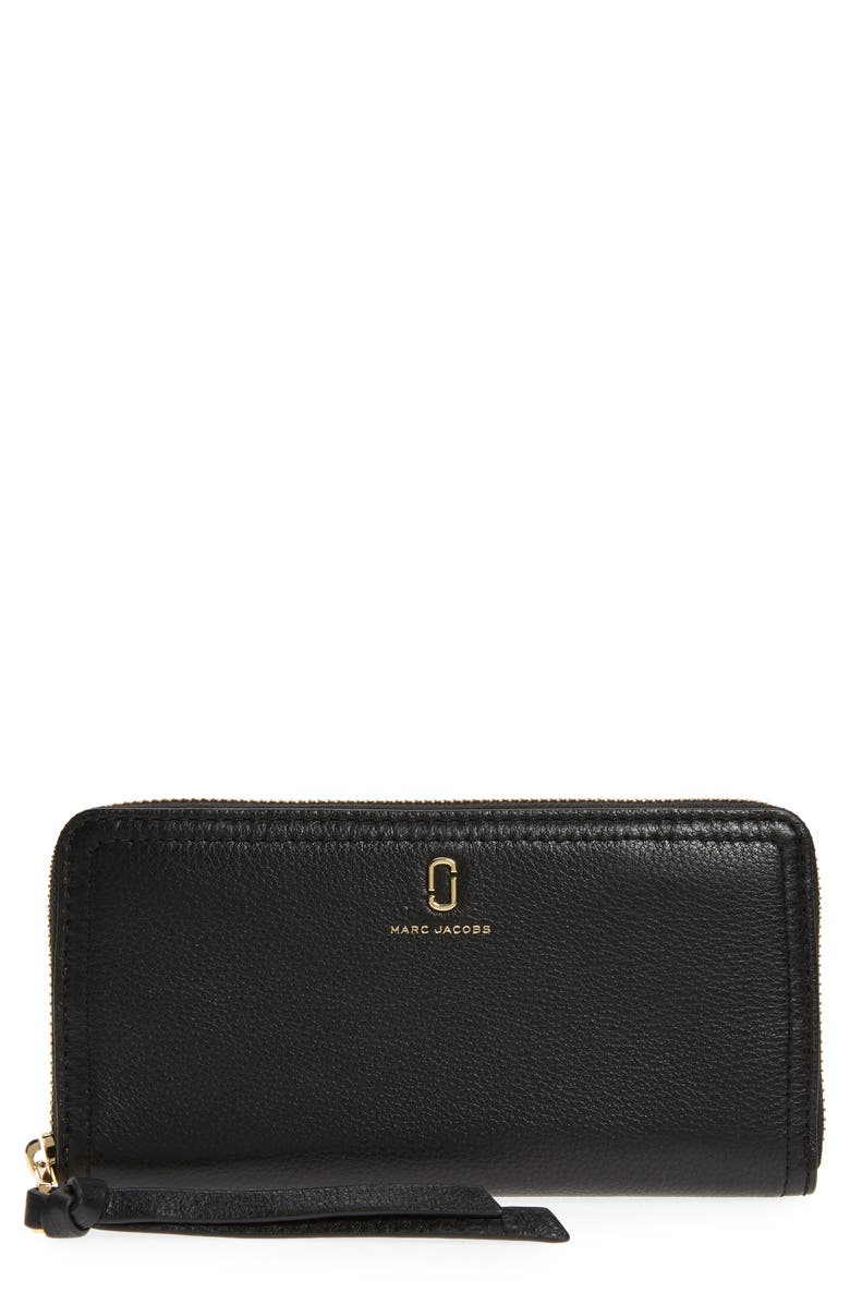 THE MARC JACOBS Standard Leather Continental Wallet, Main, color, BLACK