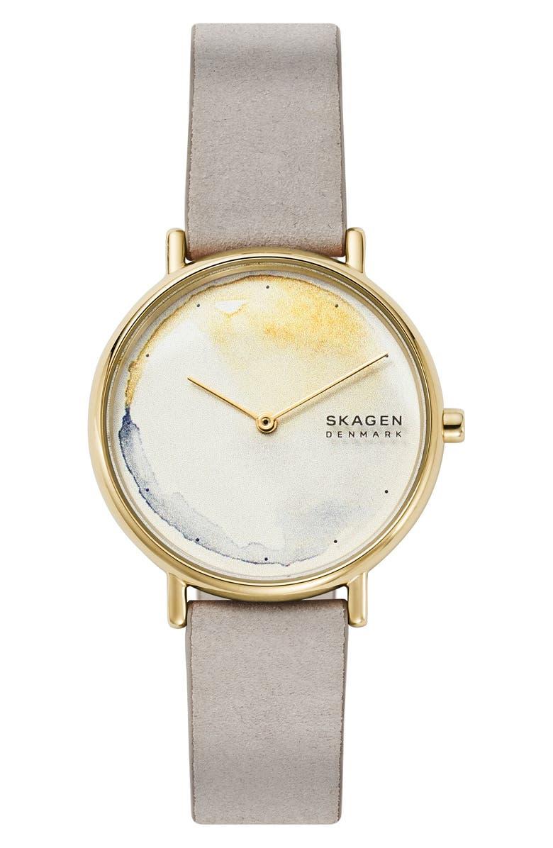 SKAGEN Signatur Leather Strap Watch, 36mm, Main, color, 020
