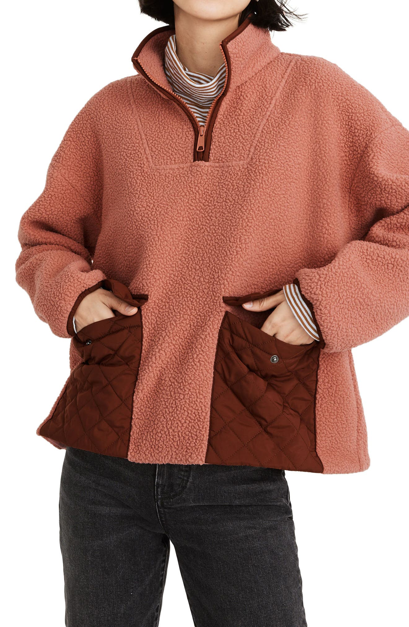 Madewell (RE)SOURCED FLEECE QUILTED POCKET POPOVER JACKET