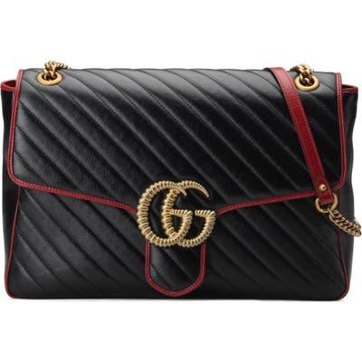 Gucci Large Gg Marmont 2.0 Matelasse Leather Shoulder Bag - Black