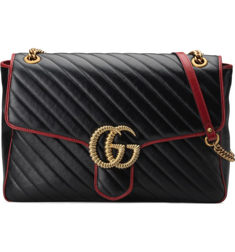 GUCCI Large GG Marmont 2.0 Matelassé Leather Shoulder Bag, Main, color, NERO/ ROMANTIC CERISE