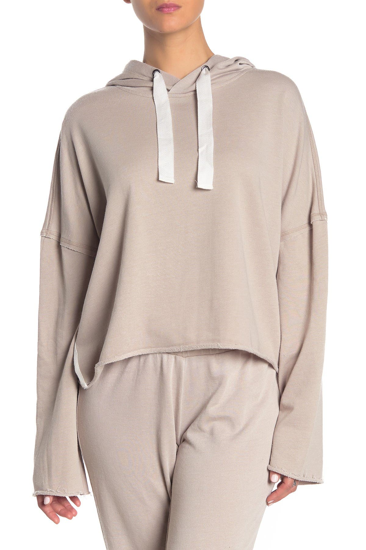 Image of Betsey Johnson Raw Edge Cropped Hoodie