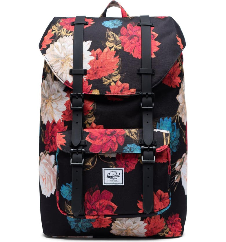 HERSCHEL SUPPLY CO. Little America Mid Volume Backpack, Main, color, VINTAGE FLORAL BLACK