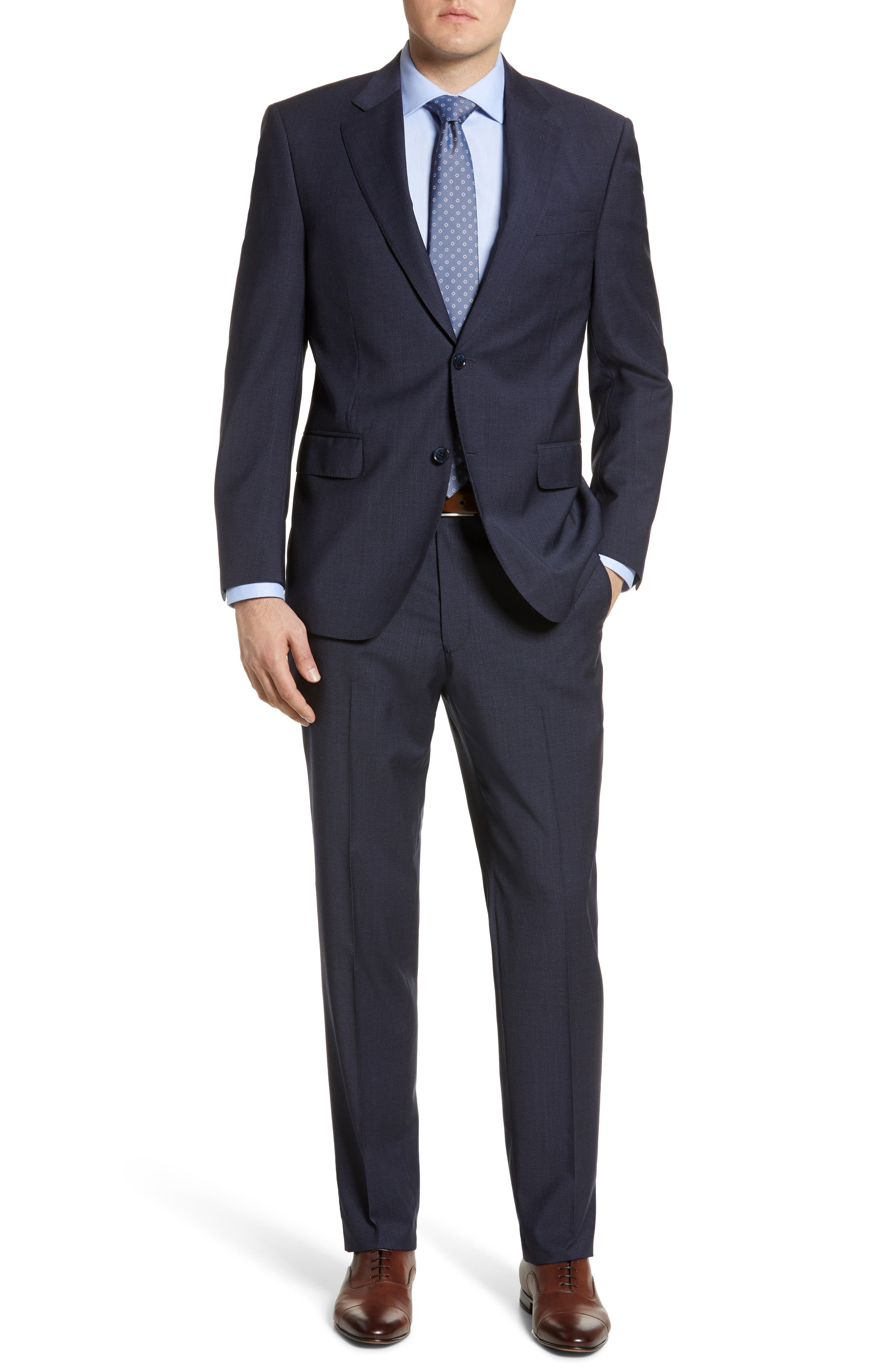 ,                             Flynn Classic Fit Check Wool Suit,                             Main thumbnail 1, color,                             NAVY